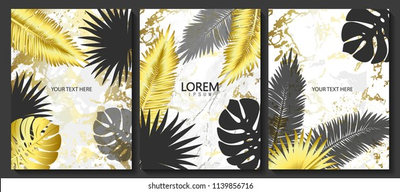 Luxury cards collection with marble texture,tropical leaves and shiny frame.Vector trendy background. Modern set of abstract card, template,posters,invitational.