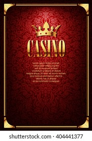 Luxury Casino Gambling Background with Golden Crown. Vector border with crown on red luxury background. Flyer illustration.