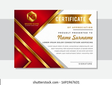 Luxury certificate or diploma template. Combination red and gold gradient colors with white background. Triangle element designs.