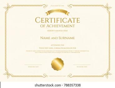 luxury certificate template elegant border frame stock vector