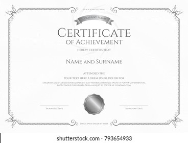 Luxury certificate template with elegant border frame, Diploma design for graduation or completion