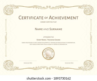 Luxury certificate template with elegant floral border frame, Diploma design for graduation or completion