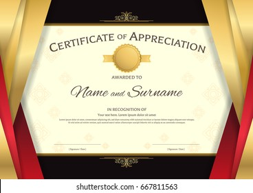 Luxury certificate template with elegant red and golden border frame, on Thai background, Diploma design for graduation or completion