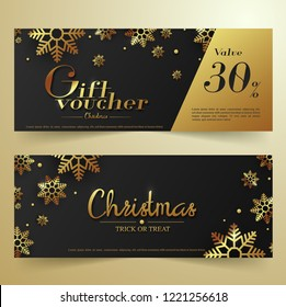 Luxury Christmas banner template Black Background with Gold Snowflakes. Vector illustration. Great design for party, voucher, ticket or invitation.