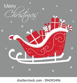 Luxury Christmas Card with Santa Sleigh Design