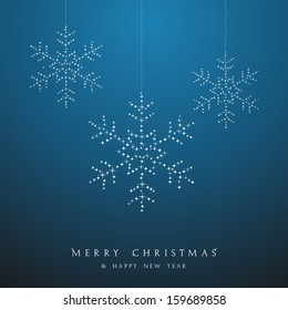 Luxury Christmas decorations ornaments hanging snowflakes postcard background. Vector file organized in layers for easy editing.