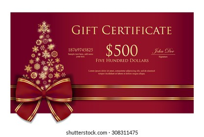 Luxury Christmas gift certificate with Christmas tree composed from golden snowflakes