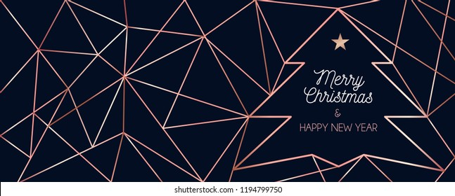 Luxury Christmas greeting card or banner design template. Rose gold geometric lines background for holidays.