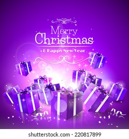 Luxury Christmas greeting card with purple gift boxes