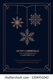 Luxury Christmas greeting card with rose gold lines, snoflakes and navy blue background. Vector illustration