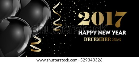 luxury christmas new year banner template with black hot air ballons vector illustration