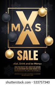 Luxury Christmas Sale background poster with golden balls, gold glitter snowflakes pattern and golden foil frame. Premium white vip retail promo offer banner, placard