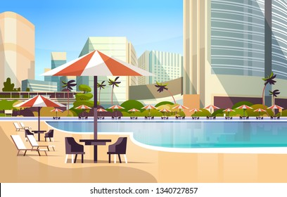 luxury city hotel swimming pool resort with umbrellas desks and chairs restaurant furniture around summer vacation concept cityscape background horizontal vector illustration