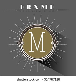 Luxury, classic, art deco, linear, minimal, hipster geometric, vintage, monogram, frame , border , label for your logo badge or crest. Business Identity