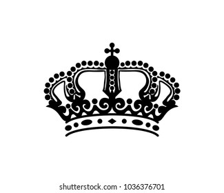Luxury Classic Line Art Crown King or Queen Sign Symbol Silhouette Logo Vector