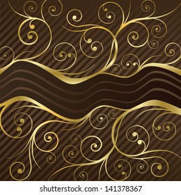 Luxury coffee menu or chocolate box cover in brown and gold. This image is a vector illustration.