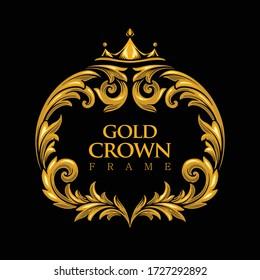 Luxury Collection Gold Logo Crown Frame with swirl ornaments for your hotel and business