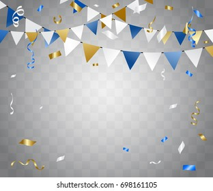Luxury Colorful Confetti And Ribbon Falling On Transparent Background. Celebration & Birthday. Vector Illustration