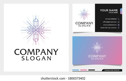 Luxury colorful Spiritual Healing logo beauty Crystal Design Vector with business card template