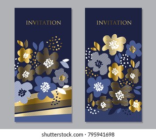 Luxury concept floral pattern with geometric texture in deep blue and gold color. Abstract spring blossom for poster, banner, invitation, web and print surface design.