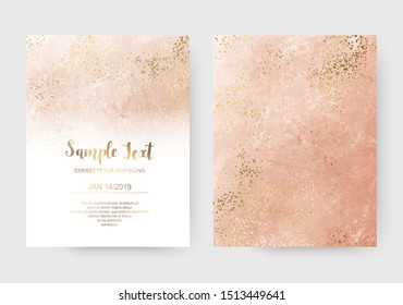 Luxury coral acrylic celebration invitation cards with gold sparkle splatter texture.