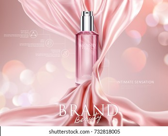 Luxury cosmetic ads, pink translucent bottle with dynamic satin elements isolated on bokeh background, 3d illustration