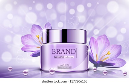 Luxury cosmetic Bottle package skin care cream, Beauty cosmetic product poster, with Bokeh