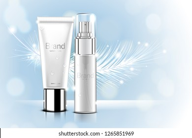 Luxury cosmetic Bottle package skin care cream, Beauty cosmetic product poster, with Bokeh and Feather background