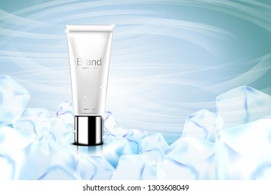 Luxury cosmetic Bottle package skin care cream, Beauty cosmetic product poster, with Bokeh and ice background