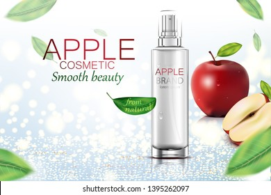 Luxury cosmetic Bottle package skin care cream, Beauty cosmetic product poster, Apples and leaves on glitter background