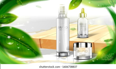 Luxury cosmetic Bottle package skin care cream, Beauty cosmetic product poster, with Green tea leaves and natural green color background