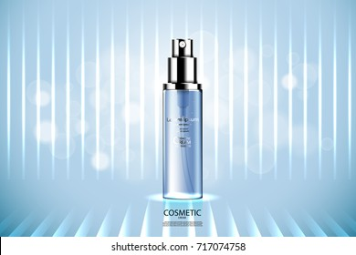 Luxury cosmetic Bottle package skin care cream, Beauty cosmetic product poster, with Bokeh and Water background