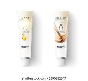 Luxury cosmetic container with cream on a white background. Realistic white tube, packaging aluminum uv sunblock cream. Vector mock up,template for package design.Sunblock ads template,sun protection