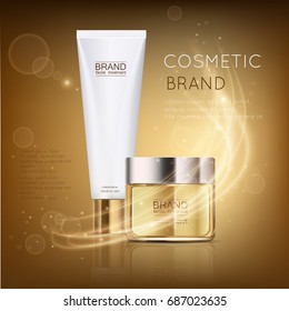 Luxury cosmetic template for ads, golden cosmetic jar and white tube mockup for moisturizing cream, premium product on a shiny background