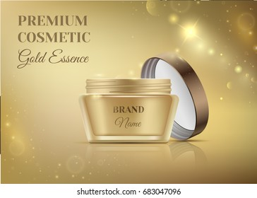 Luxury cosmetic templates for ads, golden cosmetic open jar with lid mockup for premium product on a shiny glitter background. Beautiful trendy brand illustration