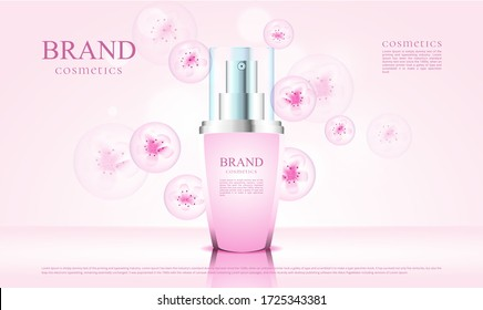 luxury cosmetics blossom with 3d packaging and pink flower illustration