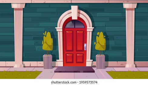 Luxury cottage house facade, home building exterior of green brick, red wooden arched door and rug at doorstep with plants in flowerbeds, tiled path and grass lawn at yard, Cartoon vector illustration