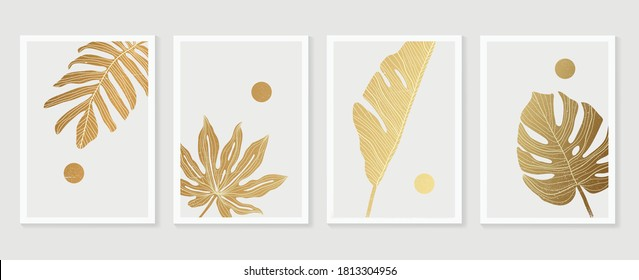 Luxury cover design template. Tropical line arts hand draw gold exotic flower and leaves. Design for packaging design, social media post, cover, banner, Wall arts, Gold geometric pattern design vector