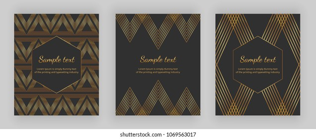 Luxury cover with geometric design and trendy gold lines on the black background . Modern vector illustration. Template for packaging, banner, card, flyer, invitation, party, print advertising