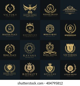 Luxury and Crest logo collection with Crown, Wing, Emblem, Heraldic Monogram in vintage style.