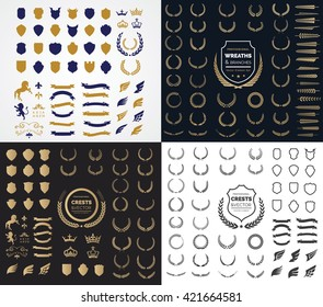 Luxury and Crest logo element with Crown, Wing, Emblem, Ribbon, Lion, Heraldic Monogram in Vintage style design elements