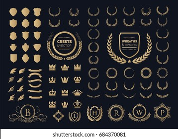 Luxury Crest logo element with Crown, Wing, Emblem, Heraldic, Monogram in Vintage style.