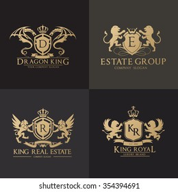 Luxury Crest Logo Set. Brand identity for hotel, Fashion, and Real estate company