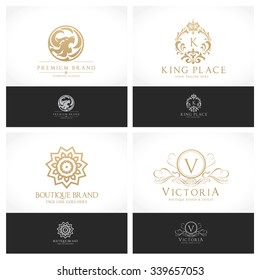 Luxury crests Logo collection Brand identity with King and royal sign, V letter, Lion, ornament vector illustration.