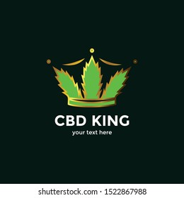 Luxury Crown CBD King Oil Logo for a Healthy Cannabis Products, Medical and CBD Industry.