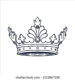 Luxury Crown Hand Drawn. Vector illustration isolated on white background. vector illustration