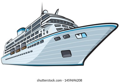 luxury cruise ship liner on the white background