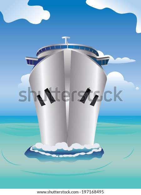 Luxury cruise ship, view from front at water level on a clear day with tropic seas and blue sky.