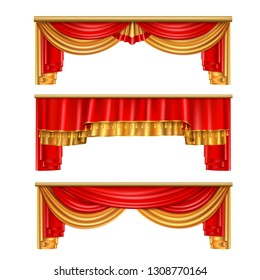 Luxury curtains realistic composition with red and gold colors for theater interior vector illustration