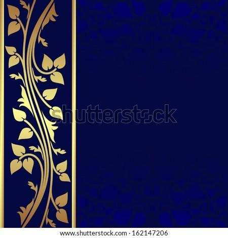 luxury dark blue background golden border stock vector royalty free